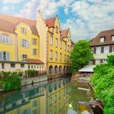 Bello panorama di vecchia città Colmar, Francia Immagini Stock