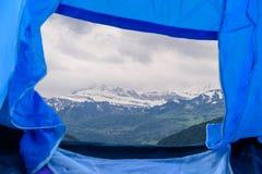 Bello panorama turistico delle montagne nevose svizzere Fotografia Stock