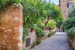 Bello parco nella città d'annata in Toscana, Pienza Fotografia Stock Libera da Diritti