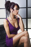 Bello pensiero asiatico delle donne Immagini Stock