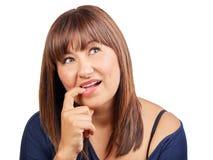 Bello pensiero castana del dito della donna isolato Immagini Stock Libere da Diritti