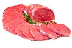 bello pezzo e bistecca della carne rossa isolati sopra fondo bianco fotografia stock