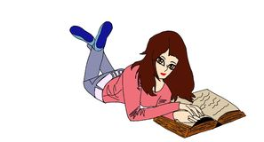 Bello, piacevole, ancora, istruzione stydent della ragazza di modo con il libro, volume royalty illustrazione gratis