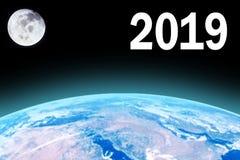 Bello pianeta Terra con la luna piena nelle ferie 2019 royalty illustrazione gratis