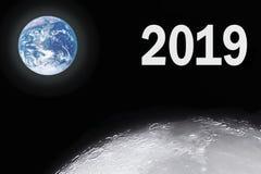 Bello pianeta Terra con la luna piena nelle ferie 2019 illustrazione di stock