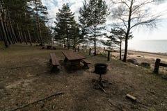 Bello picnic distante e punto di campeggio vicino ad un Mar Baltico in un'abetaia con una spiaggia del masso nei precedenti - fotografia stock libera da diritti