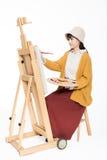 Bello pittore sveglio della ragazza Fotografia Stock