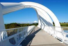 Bello ponte che incornicia la vista di una montagna nevosa Immagini Stock