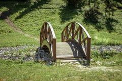 Bello ponte di legno nel parco di primavera nel giorno soleggiato Fotografie Stock Libere da Diritti