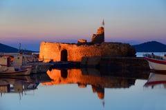 Bello porto di Naousa all'isola di Paros, Cicladi Grecia Fotografia Stock