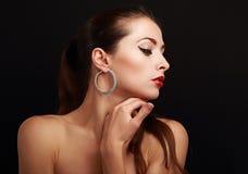 Bello profilo del fronte della donna di trucco Immagine Stock