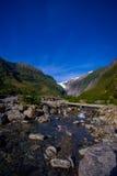 Bello punto di vista di Franz Josef Glacier nel parco nazionale di Westland sulla costa ovest dell'isola del sud Alpi del sud Immagini Stock Libere da Diritti
