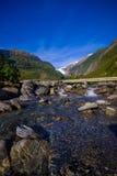 Bello punto di vista di Franz Josef Glacier nel parco nazionale di Westland sulla costa ovest dell'isola del sud Alpi del sud Fotografia Stock Libera da Diritti