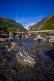 Bello punto di vista di Franz Josef Glacier nel parco nazionale di Westland sulla costa ovest dell'isola del sud Alpi del sud Immagine Stock Libera da Diritti