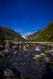 Bello punto di vista di Franz Josef Glacier nel parco nazionale di Westland sulla costa ovest dell'isola del sud Alpi del sud Fotografie Stock Libere da Diritti