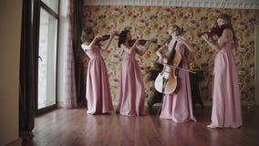 Bello quartetto femminile carismatico che gioca sugli strumenti a corda nella sala stock footage