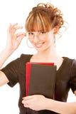 Bello ragazza-allievo con i manuali Immagine Stock Libera da Diritti