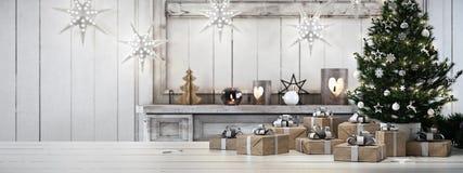 Bello regalo con gli ornamenti di Natale rappresentazione 3d Fotografia Stock