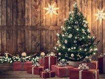 Bello regalo con l'albero di Natale rappresentazione 3d Fotografia Stock Libera da Diritti