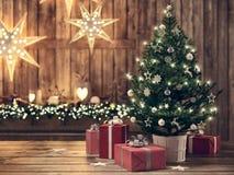 Bello regalo con l'albero di Natale rappresentazione 3d Fotografia Stock