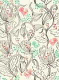 Bello reticolo senza giunte con i fiori e gli uccelli Fotografie Stock Libere da Diritti