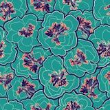 Bello reticolo senza giunte floreale Fiori del pastello del fiore del giardino Illustrazione di vettore Il modello senza cuciture Fotografia Stock