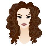Bello ritratto castana della ragazza con i grandi occhi, sferze lunghe Illustrazione di Stock