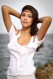 Bello ritratto del fronte della ragazza, capelli marroni e sorriso piacevole, sguardo del modello di moda Immagini Stock