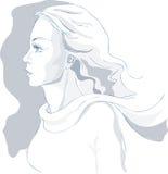 Bello ritratto della donna, abbozzo, profilo, vettore royalty illustrazione gratis