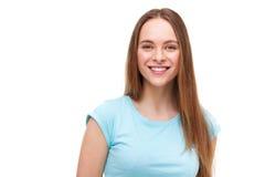 Bello ritratto della giovane donna isolato su bianco Immagine Stock