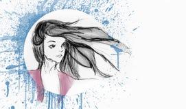 Bello ritratto della ragazza - volo dei capelli con il vento - spruzzata di colore di acqua sui precedenti illustrazione vettoriale