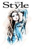 Bello ritratto disegnato a mano della donna Donna alla moda in rivestimento dei jeans Ragazza di modo con capelli biondi illustrazione di stock