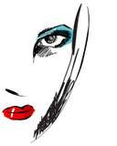 Bello ritratto disegnato a mano della donna elegante di stile Fotografia Stock Libera da Diritti