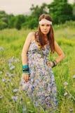 Bello ritratto hippy della donna Immagine Stock
