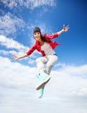 Bello salto della ragazza di dancing Immagine Stock Libera da Diritti