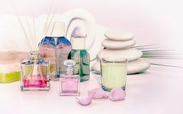 Bello, sapone fatto a mano fragrante, olio aromatico, candela, pila o Fotografia Stock Libera da Diritti