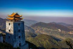 Bello scenico di più alta montagna di punta fansipan dell'Indocina Fotografie Stock