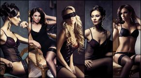 Bello, sexy e ragazze in biancheria Fotografia Stock