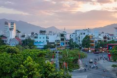 Bello sinset sopra Nha Trang, Vietnam fotografia stock libera da diritti