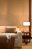 Bello sofà in un salone decorato piacevole immagine stock libera da diritti