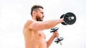 Bello sportivo Successo Bicipite perfetto Ente atletico Palestra della testa di legno Attrezzatura di sport e di forma fisica spo immagini stock