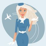 Bello stewardess Fotografia Stock Libera da Diritti