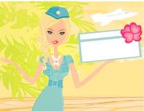 Bello stewardess con il biglietto Immagine Stock