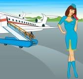 Bello stewardess con il biglietto di aria. Immagine Stock