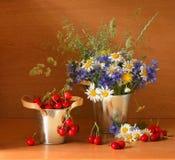 Bello stillife con le ciliege Fotografie Stock