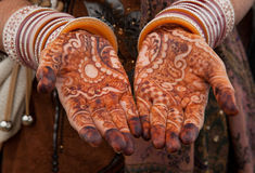 Bello tatuaggio floreale del hennè sopra Immagini Stock