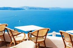 Bello terrazzo con la vista del mare Immagini Stock Libere da Diritti