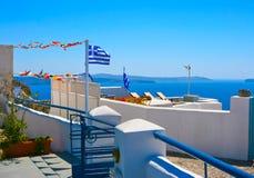 Bello terrazzo in Santorini, Oia Fotografie Stock