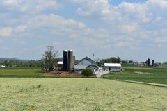 Bello terreno coltivabile circondato dai campi in Pensilvania fotografie stock libere da diritti