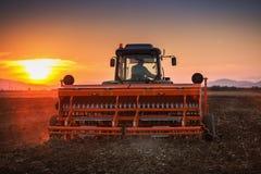 Bello tramonto, agricoltore in trattore che prepara terra con il semenzaio Fotografie Stock Libere da Diritti